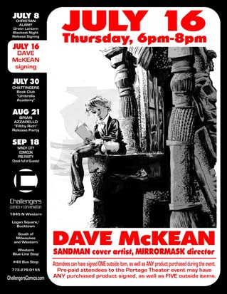 Dave McKean signs at Challengers on July 16th.