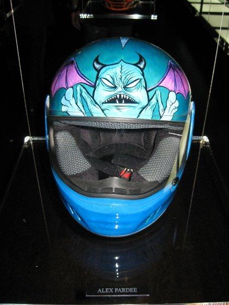 Alex Pardee's helmet, front view.