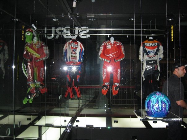 Motorcycle suits on display.