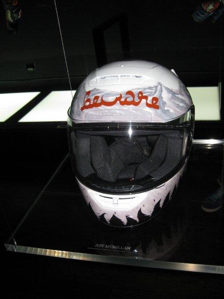 Jeff McMillan's helmet. Front view.