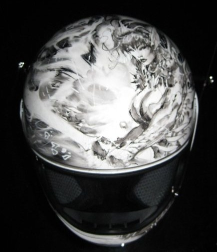 Jim Lee's helmet, front view.