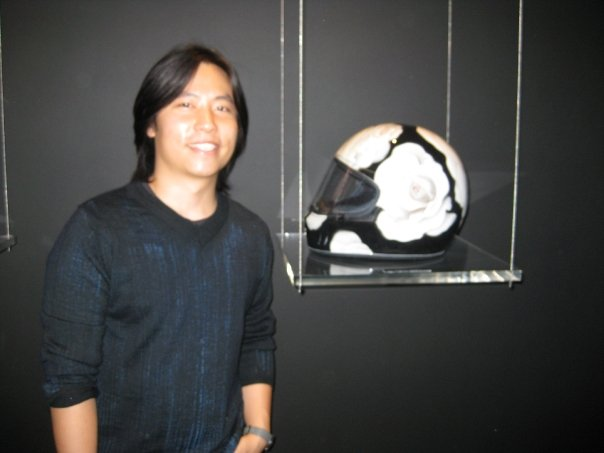 James Jean posing with his masterpiece.