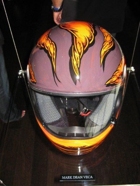 Mark Dean Veca's helmet, front view.