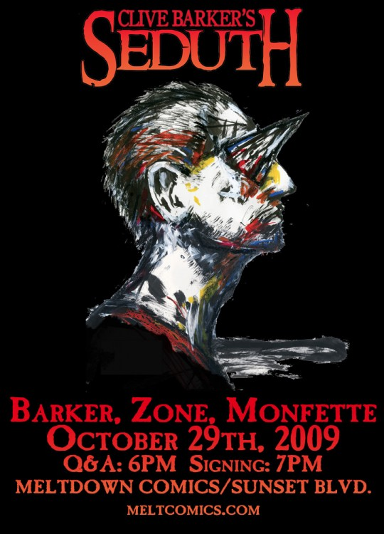 Clive Barker, Chris Monfette and Ray Zone sign on Oct 29th