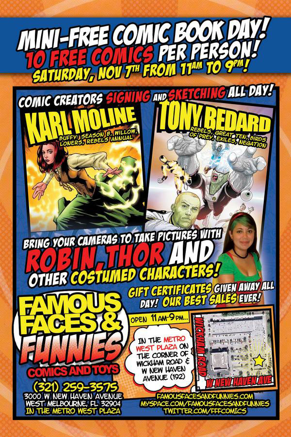 Karl Moline & Tony Bedard sign at Famous Faces & Funnies