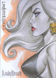 Joseph Michael Linsner Lady Death Sketch Card