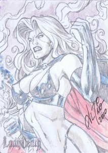 Al Rio Lady Death Sketch Card
