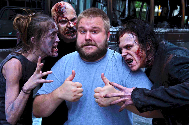 Robert Kirkman with Walking Dead Zombies