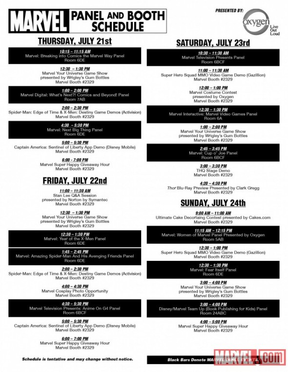 Marvel Panel and Booth Schedule SDCC 2011