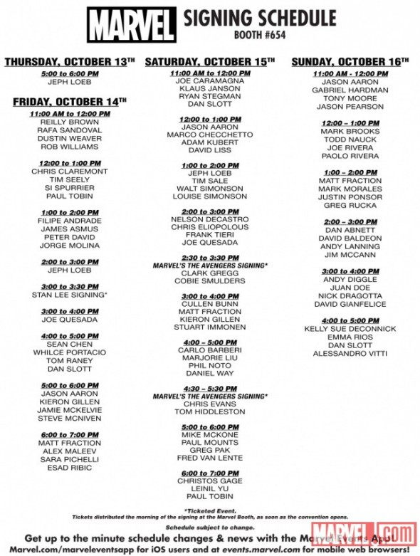 Marvel NYCC 2011 Signing Schedule