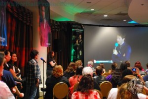 Misha Collins answers my question during DCcon.