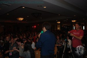 Misha Collins addresses crowd during live Stageit fundraiser at DCcon.