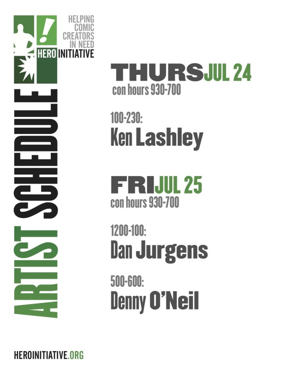 Hero Initiative SDCC 2014 Schedule