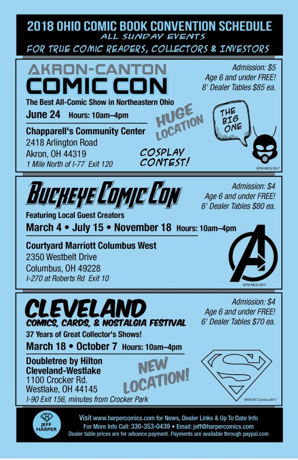 2018 Ohio Comic Book Show Schedule
