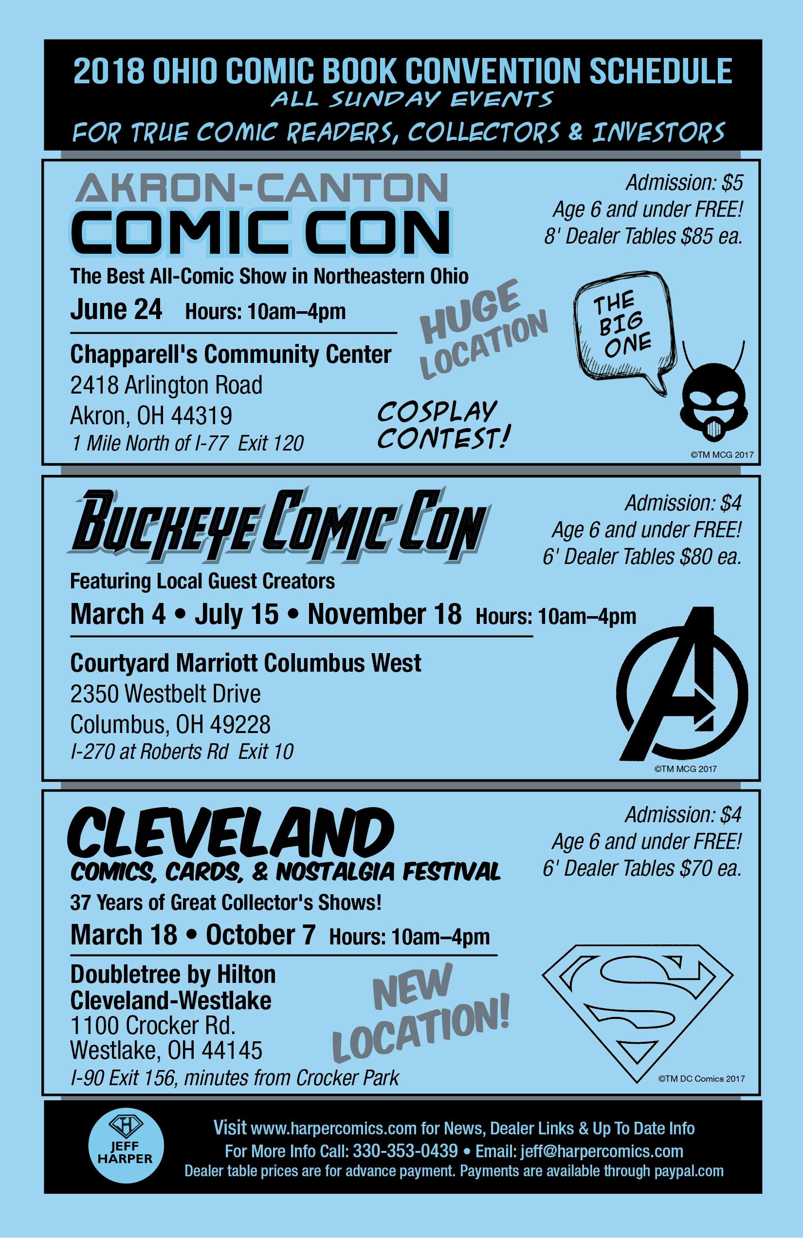 2018 Ohio Comic Book Show Schedule