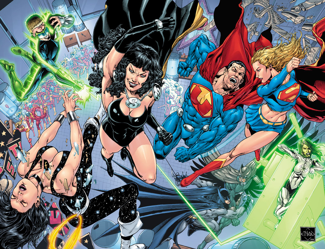 JLA 50 cover by Ethan Van Sciver