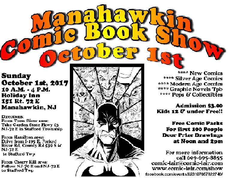 Manahawkin Comic Book Show Oct. 1st